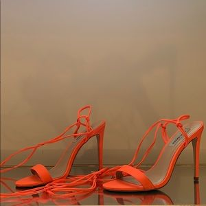 Steve Madden Neon orange wrap around heeled sandal